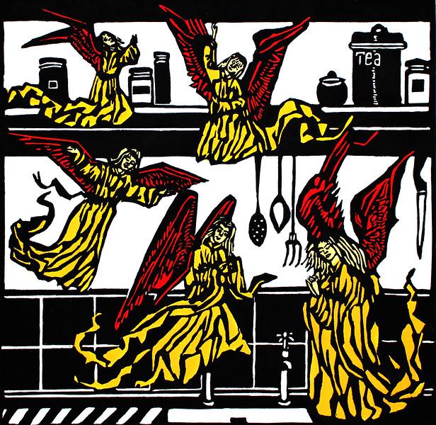 """Angels in my Kitchen"" (linocut) by Paula Pohli"