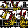 """Angels in my Kitchen"" (linocut) by Paula Pohli"