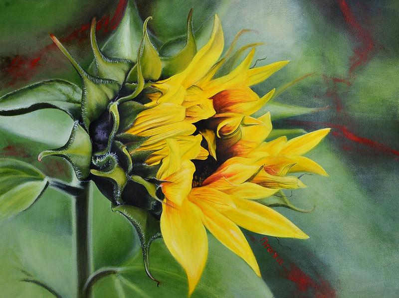 """""""Sunflower"""" (acrylic) by Sokolova Natalia"""