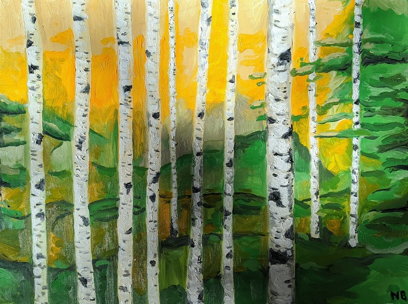 """""""Rockport Maine Birch Trees"""" (oil on canvas) by Nicholas Beverage"""