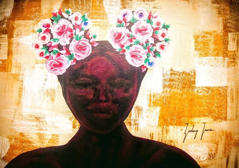 """""""AfROSES"""" (acrylic) by Zachary Jones"""