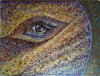 """""""The Jupiter's Eye"""" (mixed media, acrylic on canvas) by Mariana Blinova"""