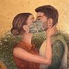 """#loveintimesofcorona"" (oil and gold leaf) by Inna Wars"