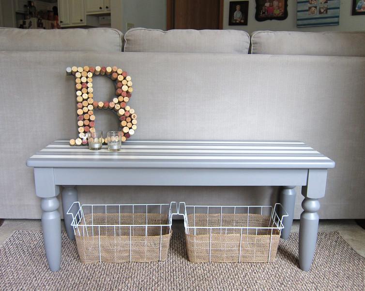 Gray bench with stripes
