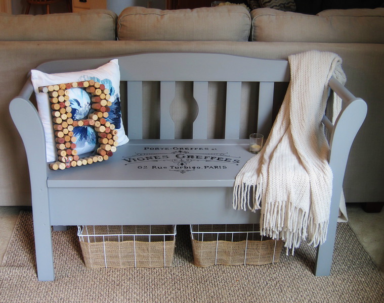 Gray Bench with storage, typography seat