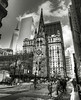 Broadway and Trinity Church BW