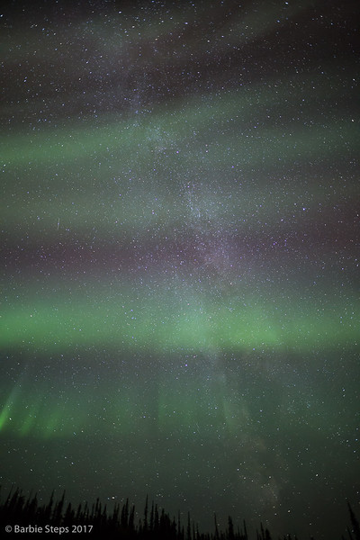 The Milky Way covered by the Aurora Borealis  later in evening