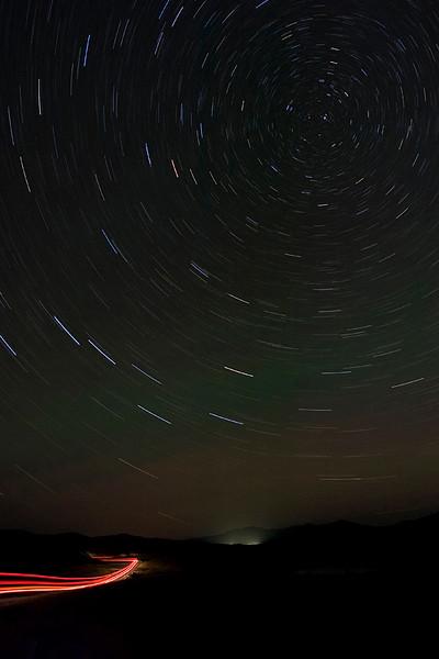 Star trails in Hayden Valley.