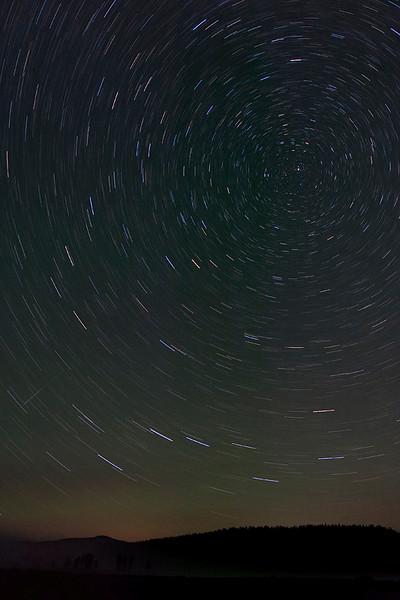 Star trails taken in Hayden valley.