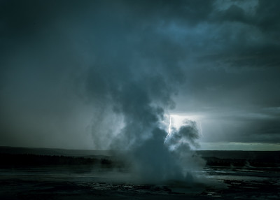 Geyser backlit by lightening!