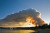 Arnica Fire billowing Smoke over Lake Yellowstone - Photo by Pat Bonish