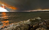 Sunset on the East Shore of Lake Yellowstone - Arnica Fire in the Background - Photo by Pat Bonish
