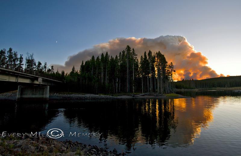 Forest Fire behind Bridge Bay Marina - Yellowstone National Park - Photo by Pat Bonish