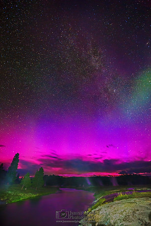"""""""Phantom,"""" The Aurora Borealis and  Andromeda Galaxy over Midway Geyser Basin and the Firehole River, Yellowstone National Park"""
