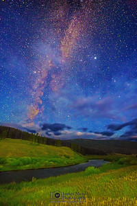 """Charmed,"" Milky Way Sunrise over the Gallatin River, Yellowstone National Park"