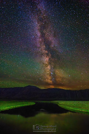 """""""Mysterious Reflections,"""" The Milky Way over the Madison River and Mount Haynes, Yellowstone National Park"""