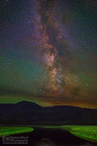 """Paradise Ridge,"" The Milky Way over the Madison River, Yellowstone National Park"