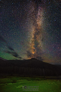 """Skyrise,"" The Milky Way over Monument Mountain, Yellowstone National Park, Wyoming"