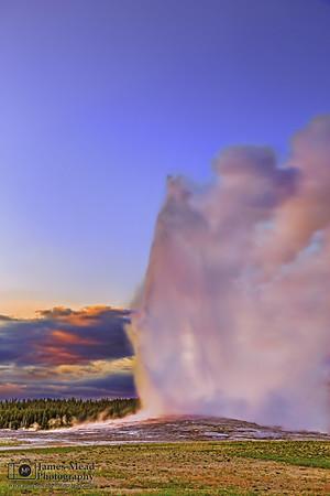 """Faithful Magic,"" Alpenglow on Old Faithful at Sunset, Yellowstone National Park, Wyoming"