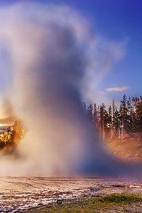 """Water Twister,"" Grand Geyser Sunset, Yellowstone National Park, Wyoming"