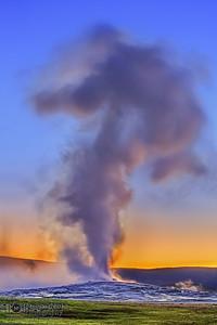 """""""Steam Blast,"""" Old Faithful Sunset, Yellowstone National Park"""