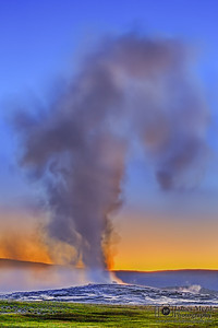 """Eruption,"" Sunset over Old Faithful, Yellowstone National Park"