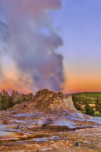 """Smoking Fortress,"" Castle Geyser Sunset, Yellowstone National Park, Wyoming"