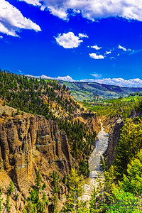 """""""Calcite Gold,"""" Calcite Springs and the Yellowstone River, Yellowstone National Park, Wyoming"""
