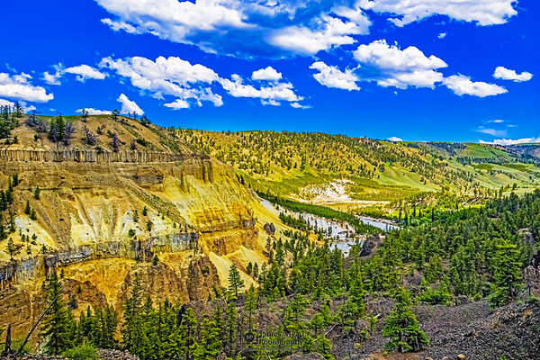 """""""Rolling Cliffs,"""" Calcite Springs and the Yellowstone River, Yellowstone National Park, Wyoming"""