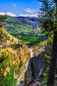 """""""Exposed Past,"""" Calcite Springs and the Yellowstone River, Yellowstone National Park, Wyoming"""
