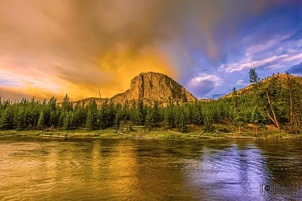"""""""Awakening,"""" Sunrise over Mount Haynes and the Madison River, Yellowstone National Park"""