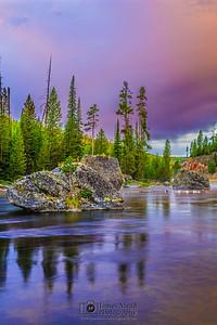"""Serenity's Sunrise,"" Pink Sunrise on the Firehole River, Yellowstone National Park, Wyoming"
