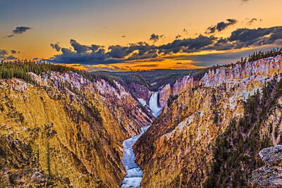 """""""Through the Canyon,"""" Artist Point, Lower Yellowstone Falls and the Grand Canyon of the Yellowstone River at Sunset, Yellowstone National Park, Wyoming"""