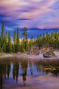 """Sunrise Reflections,"" Sunrise over the Firehole River, Yellowstone National Park, Wyoming"