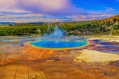 """""""Kaleidoscope,"""" Sunset over Grand Prismatic Spring and Midway Geyser Basin, Yellowstone National Park"""
