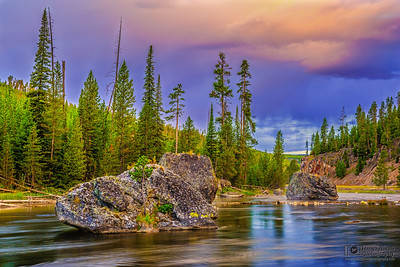 """""""Painted Firehole,"""" Sunrise Storm on the Firehole River, Yellowstone National Park, Wyoming"""