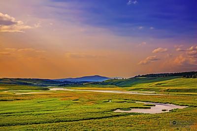 """Tangerine Sunset,"" Hayden Valley Sunset, Yellowstone National Park, Wyoming"