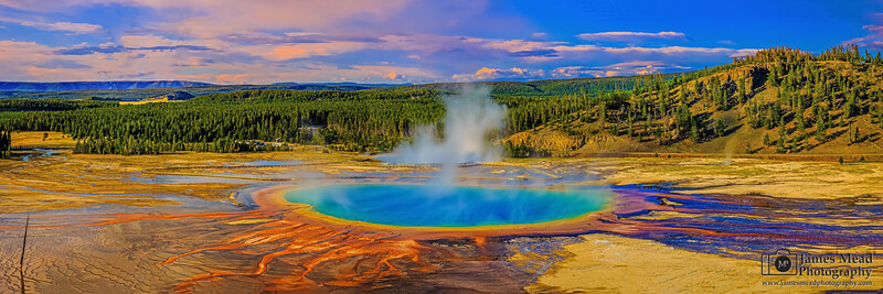 """Blue Portal,"" Sunset over Grand Prismatic Spring and Midway Geyser Basin, Yellowstone National Park"