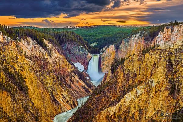 """Gold Rush,"" Sunset over Lower Yellowstone Falls, the Grand Canyon of the Yellowstone and the Yellowstone River, Yellowstone National Park, Wyoming"