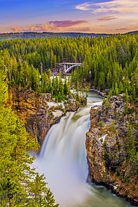 """Meandering Flow,"" Upper Yellowstone Falls at Sunset, Yellowstone National Park, Wyoming"