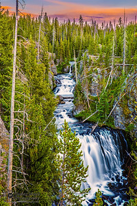"""Cascading Wonders,"" Kepler Cascades at Sunset, Yellowstone National Park"
