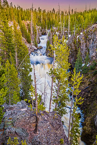 """Spring Melt Sunset,"" Kelper Cascades, Yellowstone National Park"