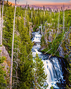 """Wild Waters,"" Sunset over Kepler Cascades,"" Yellowstone National Park, Wyoming"