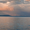 This is Yellowstone Lake at 6:54 in the morning with the Absaroka Range in the background.  There was a morning storm in the distance.