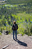 Cindy hiking atop the Biscuit Basin - Mystic Falls Hike in Yellowstone National Park - Photo by Pat Bonish