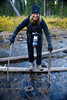 Cindy with her crutches used to cross the river - Yellowstone National Park - Photo by Pat Bonish