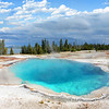 West Thumb Geyser Basin trail at Yellowstone National Park,.