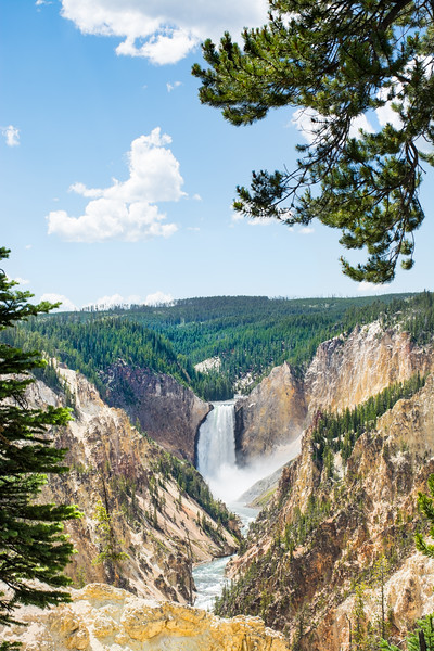 Beautiful Lower Falls at Yellowstone National Park, U.S.A. River flowing in the canyon.Copy space. Cloudy sky in the background.