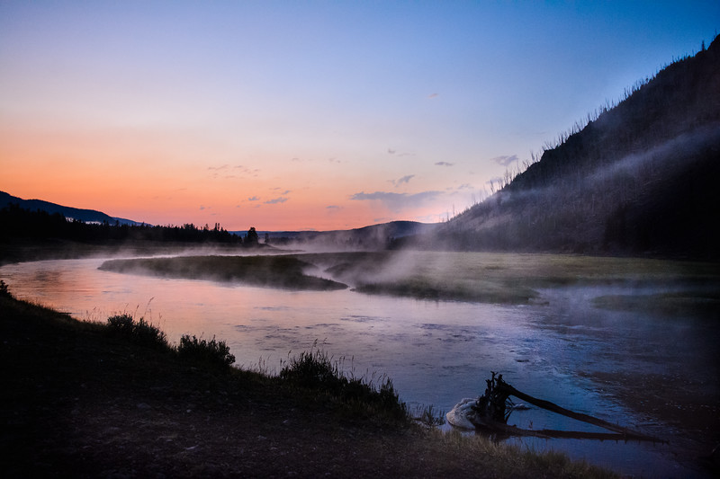 Early Morning Sunrise on the Madison River in Yellowstone National Park durning the 100 Year Centennial Anniversary Celebration