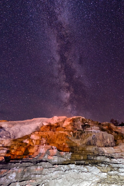 Milky Way rises over the terraces at Mammoth Hot Springs